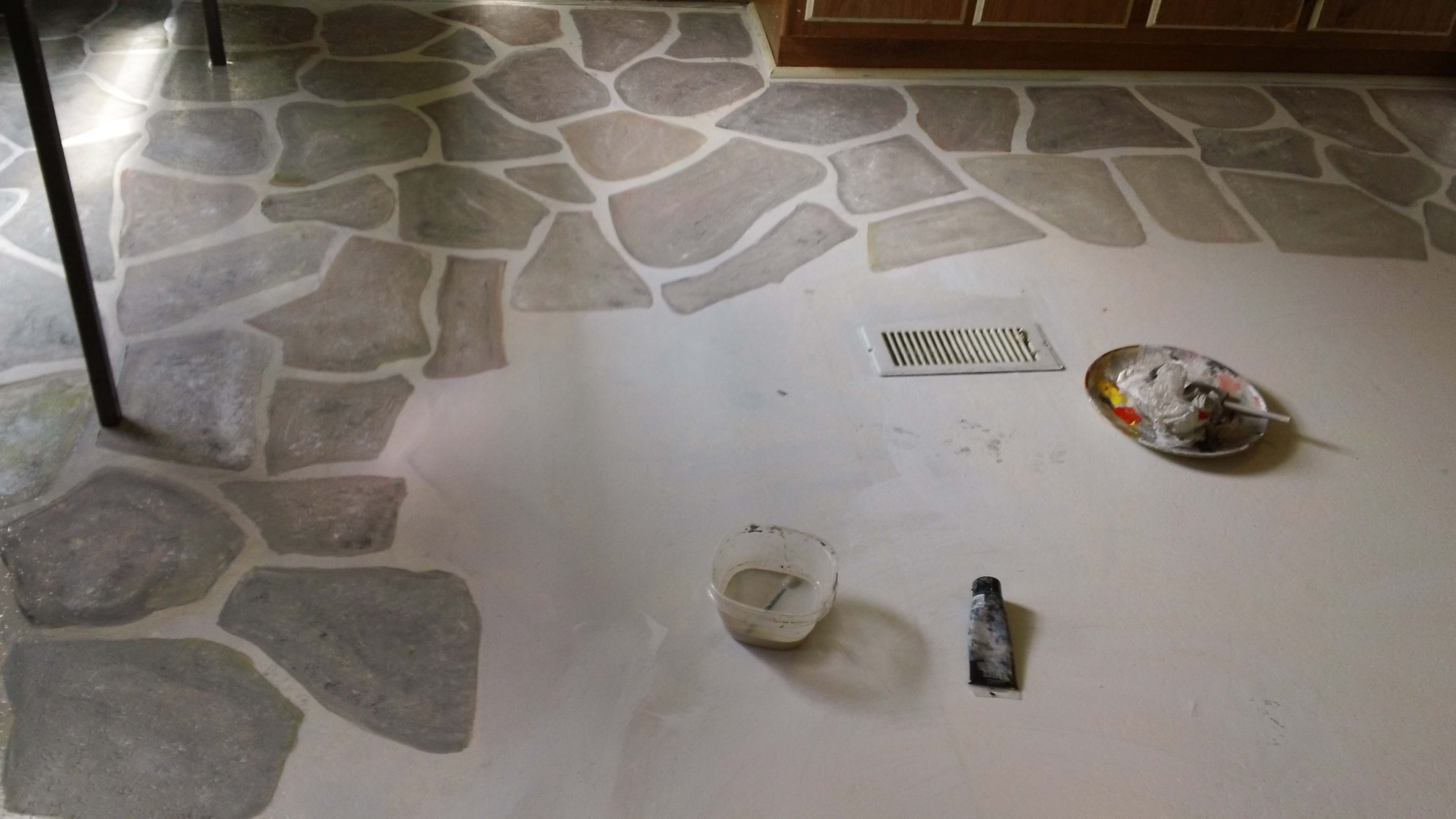 Floor Linoleum For Kitchens Painting Rocks On The Kitchen Floor Welcome Travelers