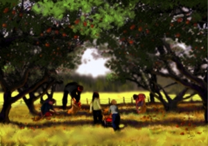 "Painting by Je' Czaja: ""Cider-making Day"""