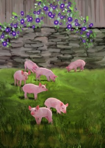 "The Morning Glories and the Piglets are Out"" painting by Je' Czaja"