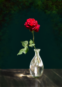 """One Red Rose"" painting by Je' Czaja"