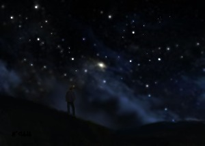 Painting by Je' Hillside, Starry Night