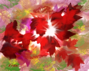 Painting by Je' Peekaboo Leaves (I see the Light-LOL)