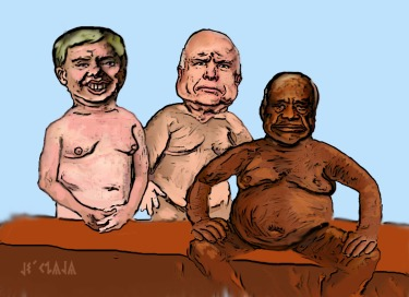 Lindsey Graham, John McCain and Clarence Thomas, naked.