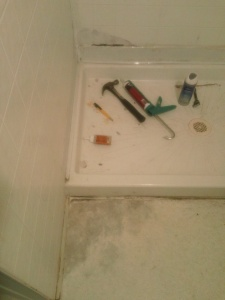 leaky shower, ugly floor